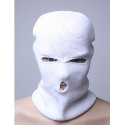 Шлем-маска, белая зимняя вязаная