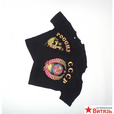 Футболка с гербом России, черный цвет