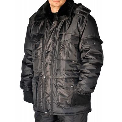 """Куртка мужская """"Охрана"""" зимняя  черная удлиненная"""