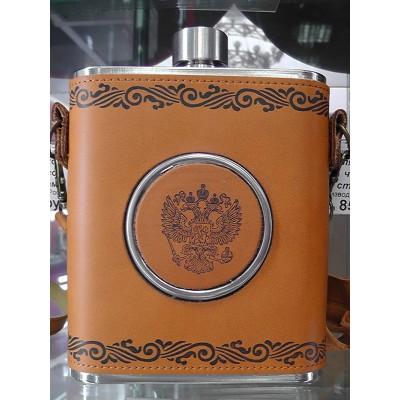 Фляга в кожаном чехле с гербом сувенирная